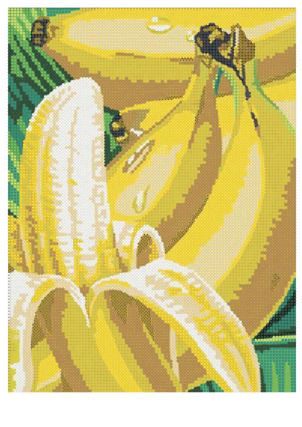"""Схема для полной зашивки бисером - """"Бананы"""""""