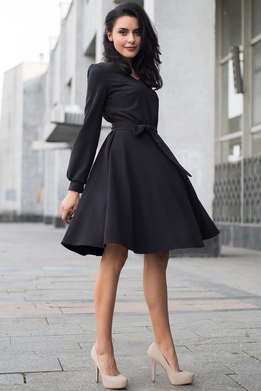 14a54f1a2a2 Чёрное платье LORRAINE с поясом и юбкой-солнце  продажа