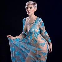 Красивое телесное длинное прозрачное платье для фотосессии