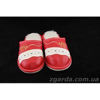 Тапочки кожаные красные