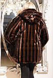 Шикарная, женская искусственная шубка под норку, коричневая прямая, фото 2