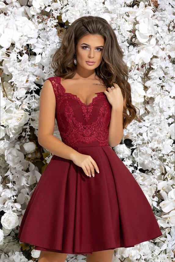 e93ee1361ae8 Вечернее женское платье, без рукавов, украшенное гипюром, цвет бордо , фото  2