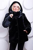 Стильная женская шубка из эко-меха черный мутон