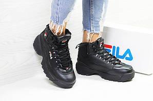 93864572 Кроссовки женские фила дисраптор зимние с мехом кожаные черные высокие  (реплика) Fila Disruptor Black