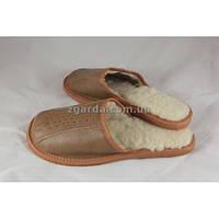 Тапочки кожаные коричневые