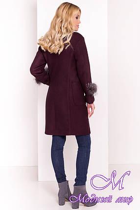 Демисезонное пальто с хомутом, мехом и поясом (р. S, M, L) арт. Кристина 5500 - 36964, фото 2