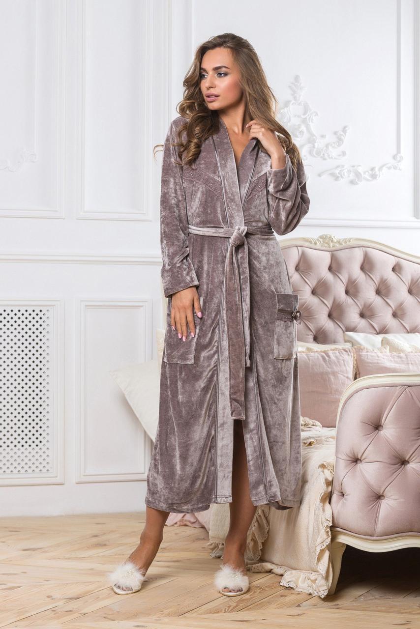 b120f77ade45a Длинный велюровый халат c кружевом Anna Christina 5029-1, цена 1 155 грн.,  купить в Харькове — Prom.ua (ID#785056206)