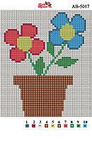 Алмазная вышивка «Цветы в горшке». АВ-5017 (А5). Полная выкладка