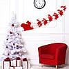 Новогодняя наклейка Дед Мороз в санях (Санта с оленями новогодний декор виниловые стикеры) матовая 900x320 мм