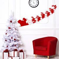 Новогодняя наклейка Дед Мороз в санях (Санта с оленями новогодний декор виниловые стикеры) матовая 900x320 мм, фото 1