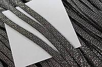 Шнур плоский 8мм (100м) т.серый + серебро