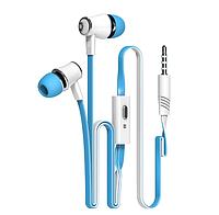 Вакуумные наушники с микрофоном и разъемом 3,5 мм Бело-синий