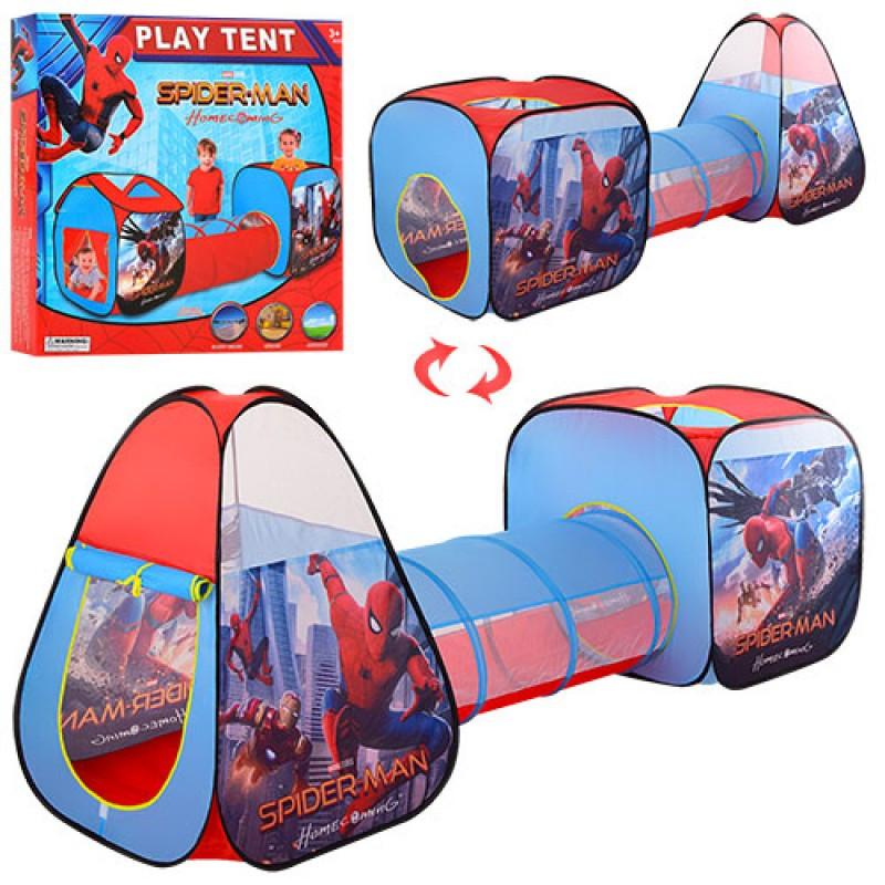 Палатка домик большая с тоннелем детская игровая Спайдермен, размер 235-70-89 см, M 3764