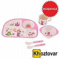 Набор детской посуды из бамбукового волокна Bamboo Fibre Kids Set Pink