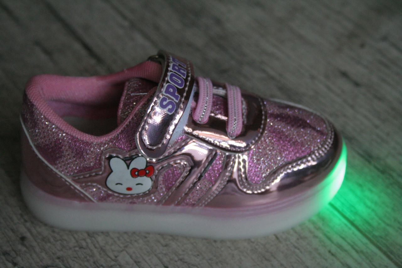 Кроссовки, мокасины детские светящиеся LED, обувь повседневная, спортивная, Размеры 22-26