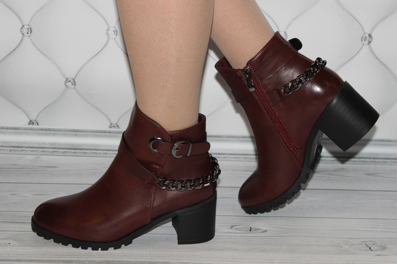 Женские ботинки цвет бордо размер 38