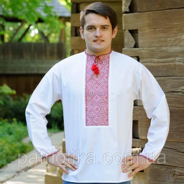 Мужская рубашка-вышиванка красный орнамент | Чоловіча сорочка-вишиванка червоний орнамент