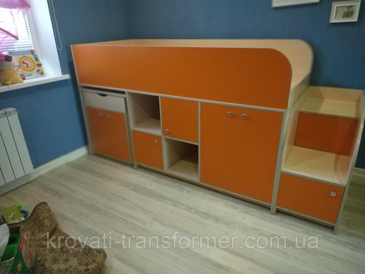 """Кровать чердак """"Геометрия"""" Премиум оранжевый+молочный дуб"""