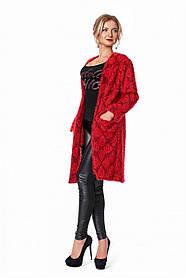 Женский кардиган прямого силуэта размер 42, 44-46, 48-50 / цвет красный