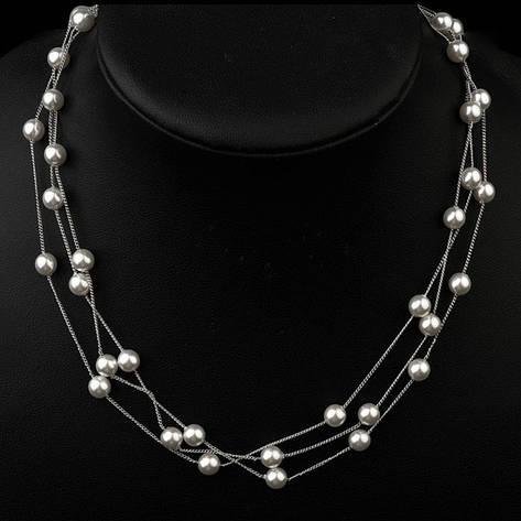 """Намисто намисто жіночі з білим перлами """"Франт"""" нитка покрита білим золотом 18К, фото 2"""