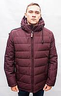 Мужская зимняя куртка пуховик короткая бордовая молодежная спортивная