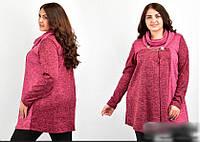 Туніка жіноча з шарфом і прикрасою, з 54-70 розмір