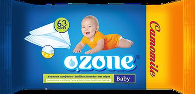 """Детские влажные салфетки """"OZONE"""" с экстрактом ромашки (63шт)"""