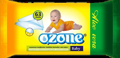 """Дитяча волога серветка """"OZONE"""" з екстрактом алое (63шт)"""