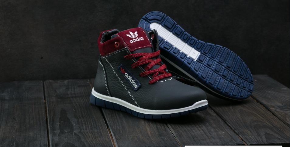 Детские зимние кроссовки Adidas бордовые топ реплика