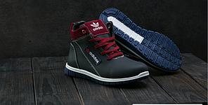 Детские зимние кроссовки Adidas бордовые топ реплика, фото 2