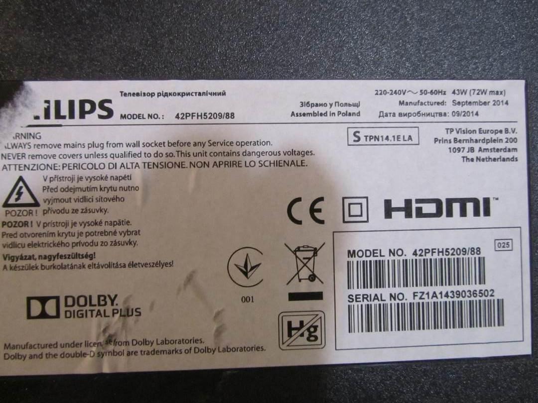Запчасти к телевизору Philips 42PFH5209/88