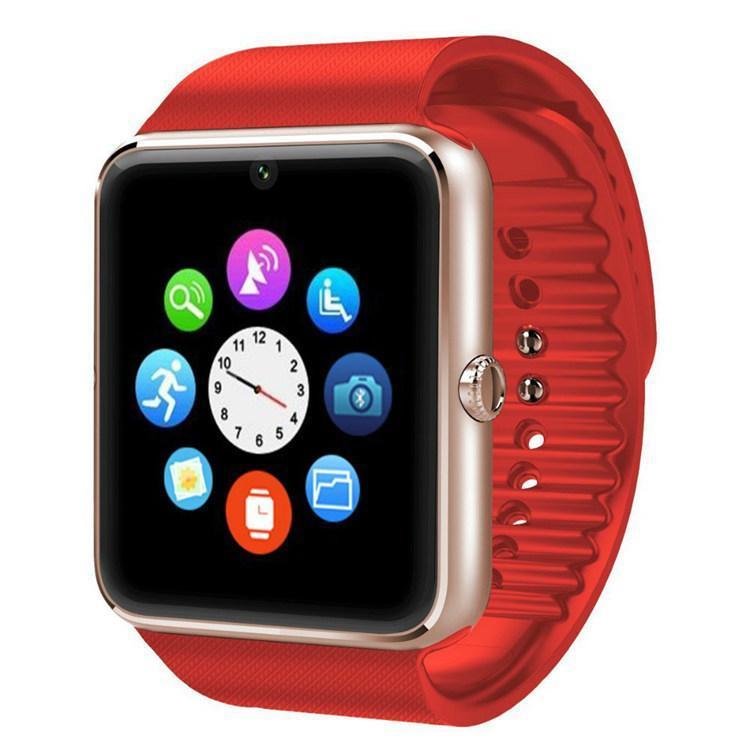 Умные смарт часы Smart Watch GT08 часы телефон с камерой, GPS, Bluetooth, NFC красно золотые
