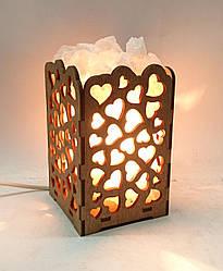 Соляной светильник деревянный Сердца с кристаллами соли