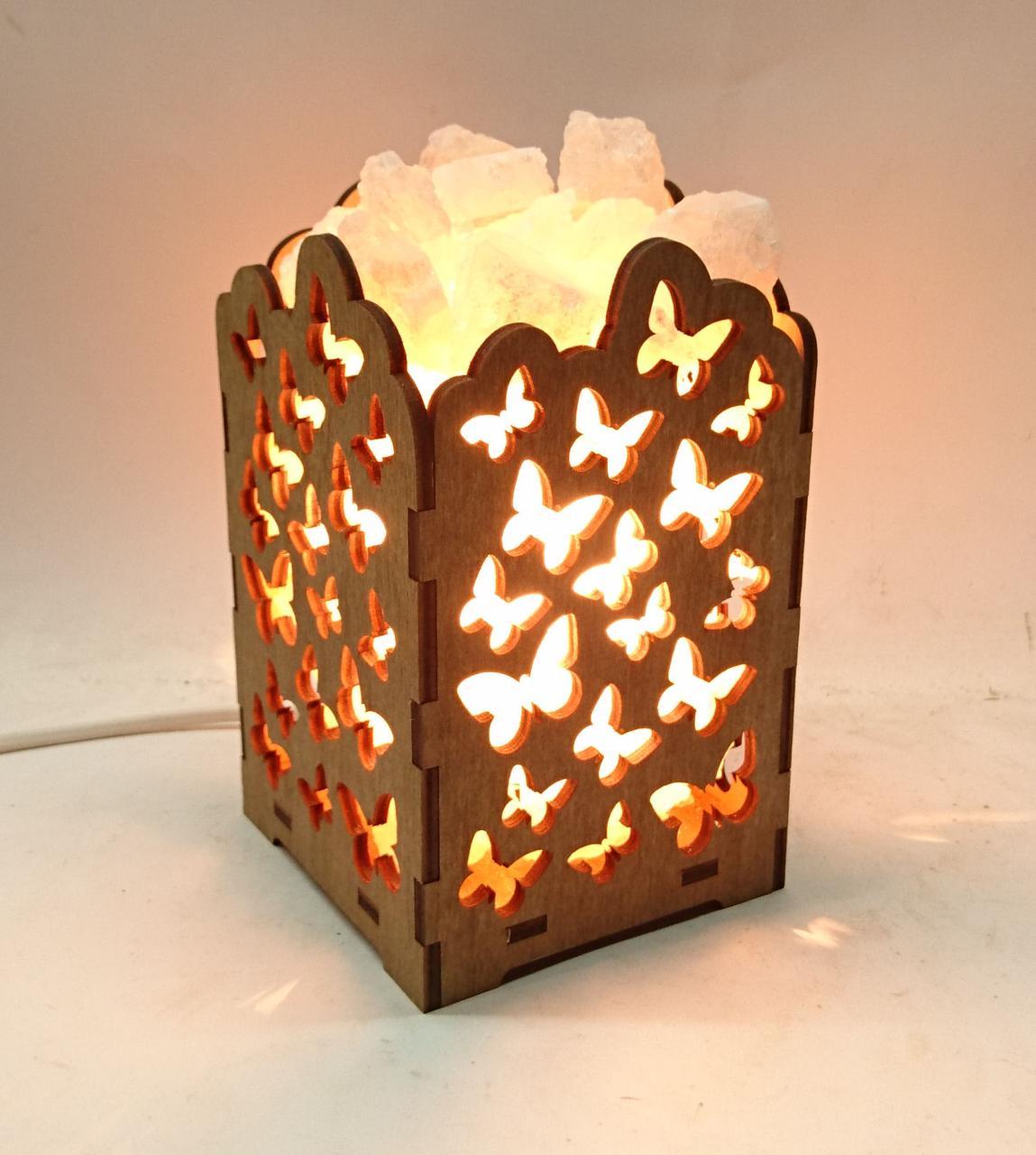 Соляной светильник деревянный Бабочки с кристаллами соли