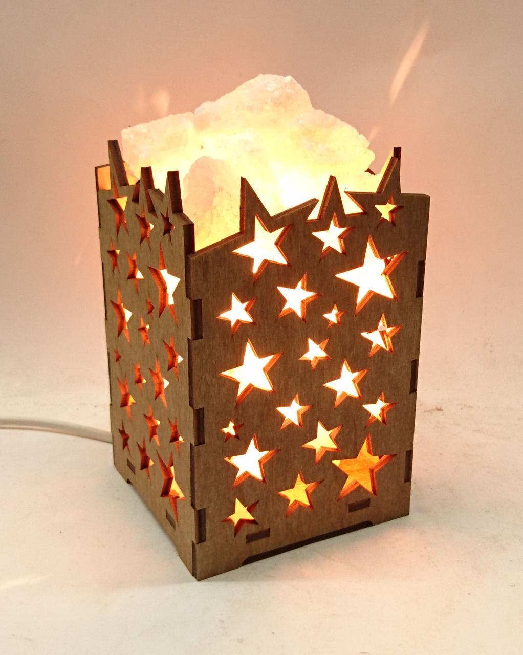 Соляной светильник деревянный Звездочки с кристаллами соли