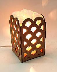 Соляной светильник деревянный Волны с кристаллами соли