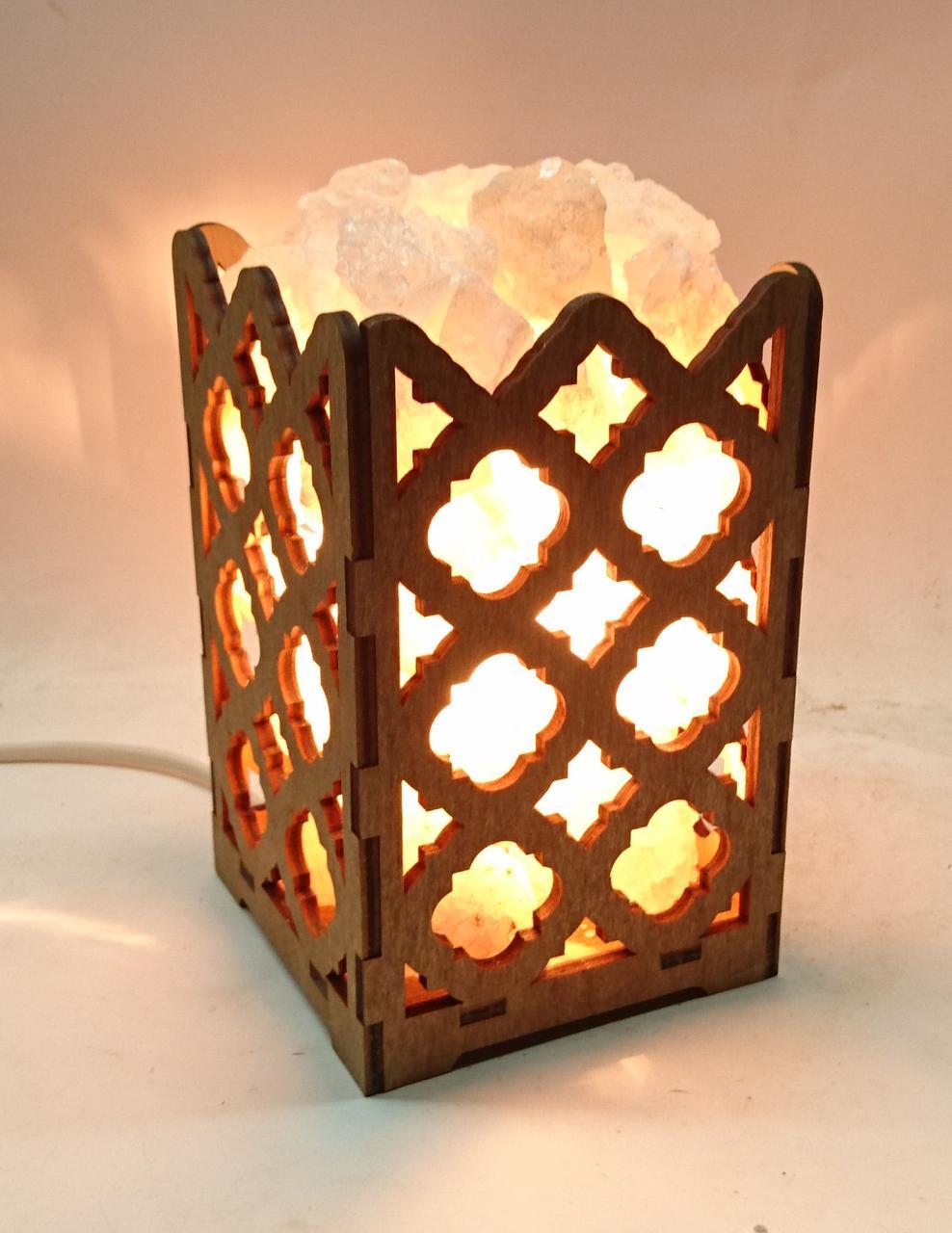Соляний світильник дерев'яний Ромби з кристалами солі