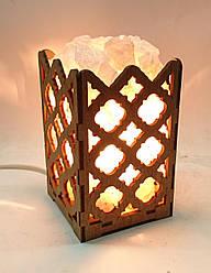 Соляной светильник деревянный Ромбы с кристаллами соли