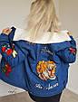 Джинсовая курточка с нашивками утепленная искусственной овчиной , фото 6