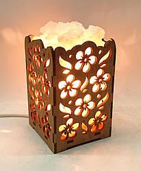 Соляной светильник деревянный Цветы с кристаллами соли