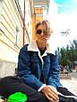 Джинсовая курточка утепленная искусственной овчиной синий, фото 2