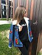 Джинсовая курточка с нашивками утепленная искусственной овчиной , фото 8