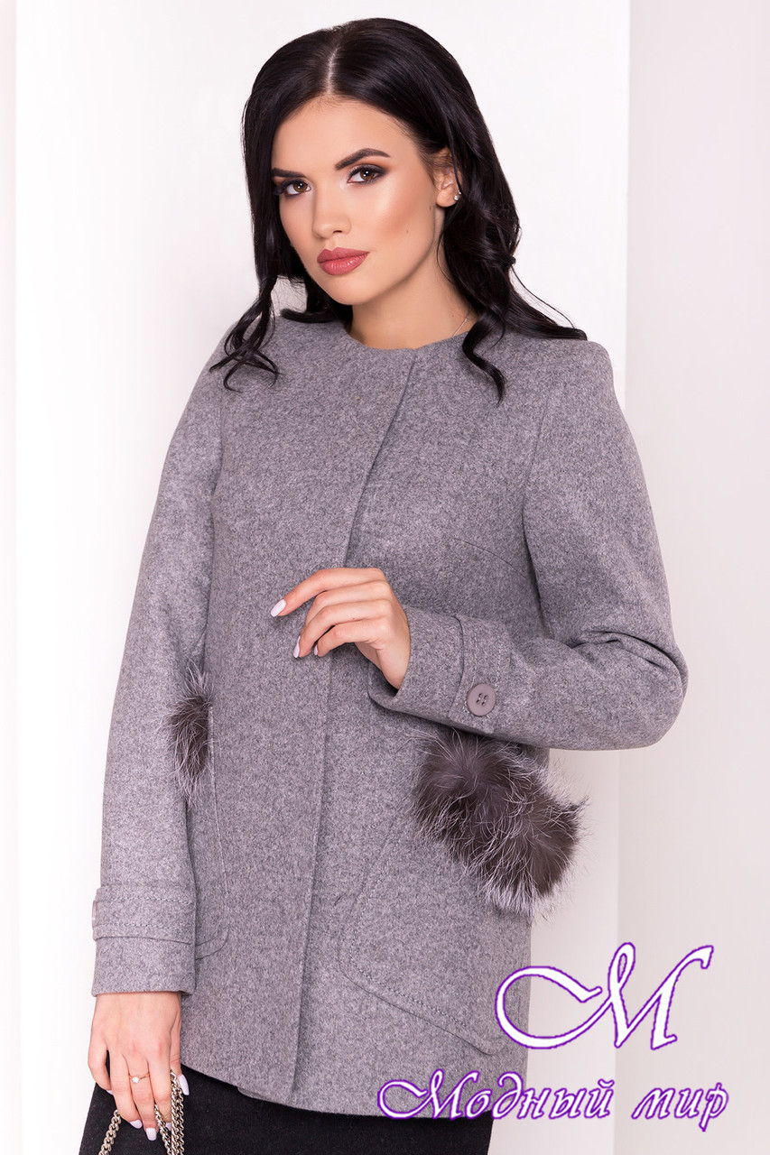 Короткое пальто с мехом на карманах (р. S, M, L) арт. Латте 5365 - 36837