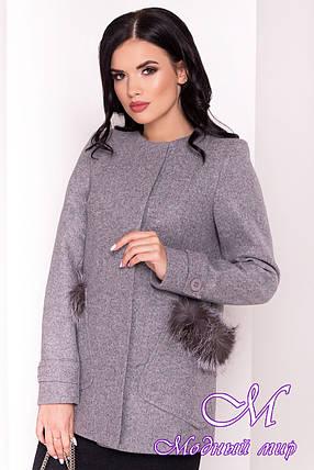 Короткое пальто с мехом на карманах (р. S, M, L) арт. Латте 5365 - 36837, фото 2