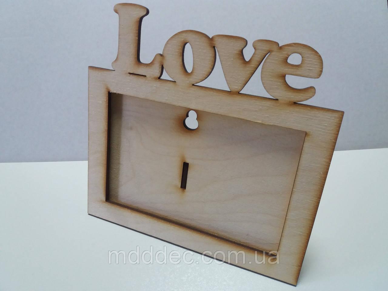 Фоторамка деревянная Love