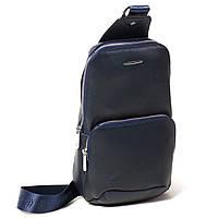 Мужской городской рюкзак Eminsa 40101 17-19 из натуральной кожи синий