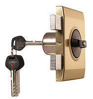 Замок накладной Gerda Tytan ZX Plus латунь сатин короткий ключ без ответной планки (5 кл.) (Польша)
