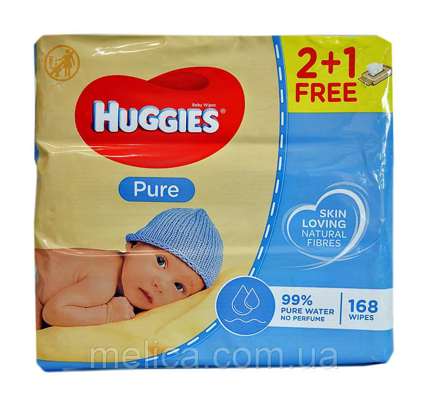 Детские влажные салфетки Huggies Pure 2+1 free (3 х 56 шт.) – 168 шт.
