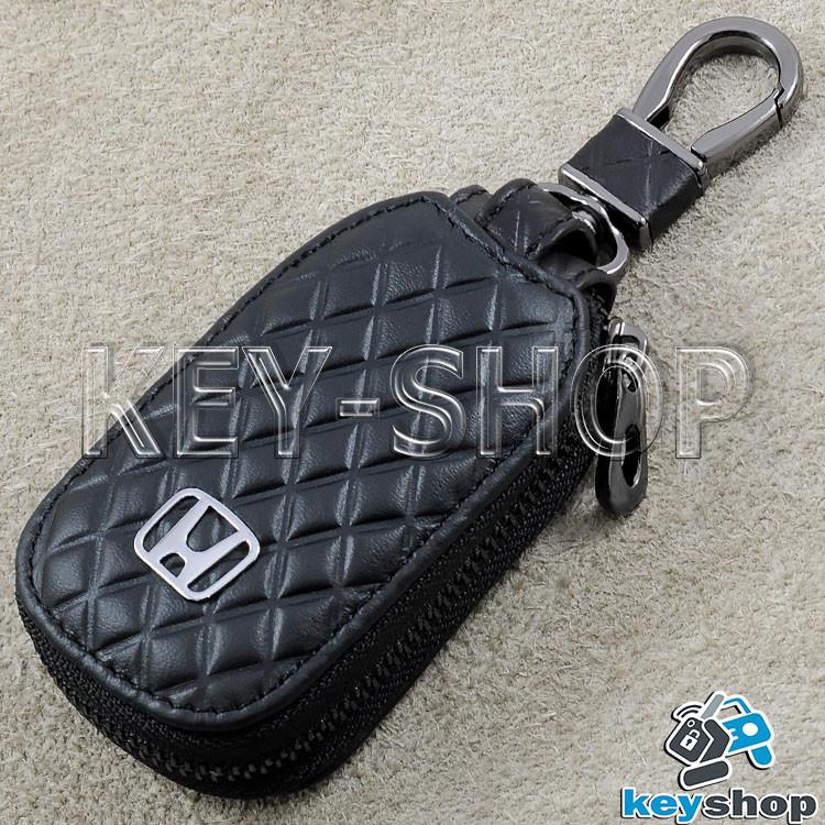 Ключница карманная (кожаная, черная, с тиснением, на молнии, с карабином) логотип авто Honda (Хонда)