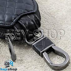 Ключниця кишенькова (шкіряна, чорна, з тисненням, на блискавці, з карабіном) логотип авто Honda (Хонда), фото 3